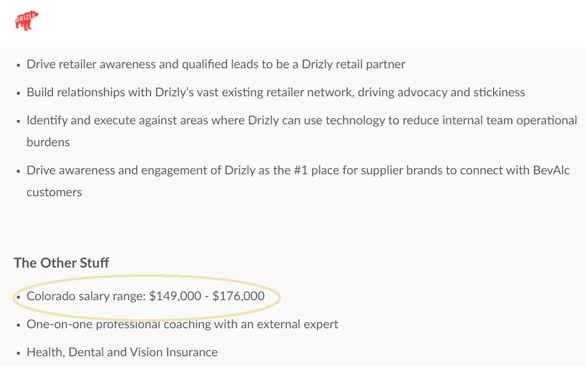 Job Posting for Denver, CO at Drizly
